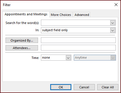 Виберіть елемент з різноманітних зустрічі та наради поля.
