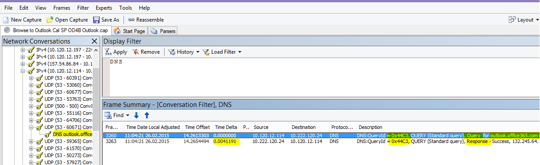 Трасування завантаження Outlook Online у Microsoft Network Monitor, відфільтроване за службою DNS, після застосування команди Find Conversations (Знайти розмови) і вибору служби DNS, щоб звузити результати.