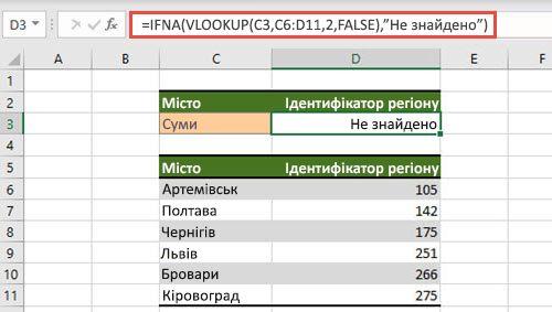 Зображення використання функції IFNA із програмою VLOOKUP #N або A-помилками.
