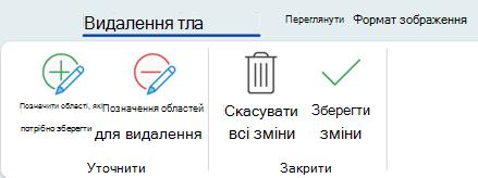 """Кнопки видалення фону на контекстній вкладці """"Формат– Знаряддя для зображення"""" стрічки в Office2016"""