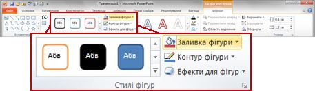 вкладка «формат» на стрічці у програмі powerpoint 2010
