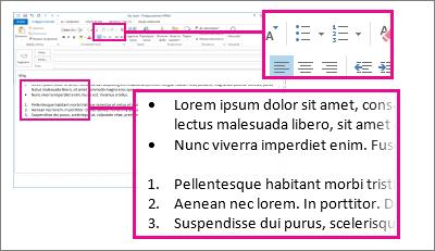 Приклади нумерованих і маркірованих списків у повідомленні