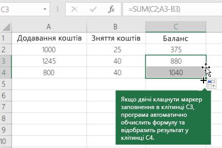 Приклад розрахунку працює баланс