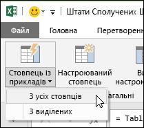"""Power Query, параметр додавання стовпця зі зразків на вкладці """"Додавання стовпця"""""""