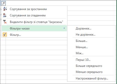 настроювані параметри фільтрування, доступні для числових значень.