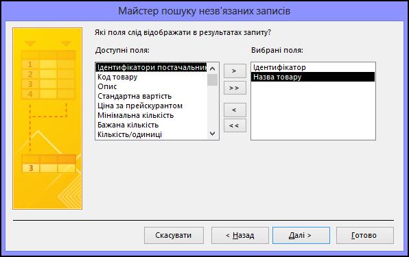 Виберіть поля, які потрібно відобразити в результатах запиту, у діалоговому вікні майстра пошуку незв'язаних записів