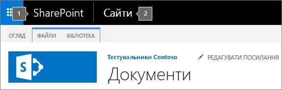 Верхній лівий кут екрана в SharePoint2016 із відображеними запускачем програм і заголовком