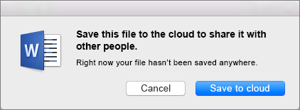 Щоб активувати спільний доступ, збережіть документ у хмарній службі зберігання, натиснувши кнопку Зберегти в хмарі