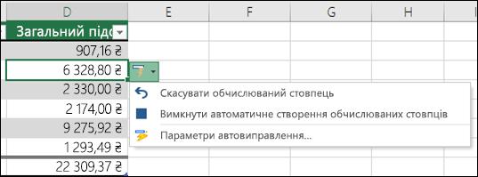 Параметр, щоб скасувати обчислюваний стовпець, коли введено формулу