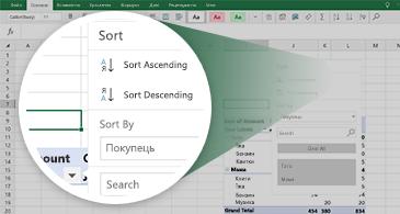 Аркуш Excel зі зведеною таблицею та збільшена область із набором доступних функцій