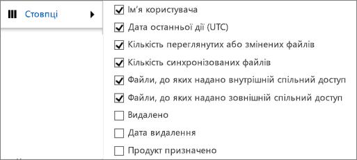 """Стовпці звіту про дії у сховищі """"OneDrive для бізнесу"""""""