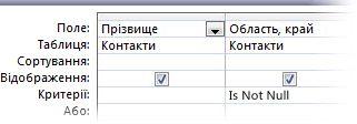 Знімок екрана: конструктор запитів з умовами Is Not Null