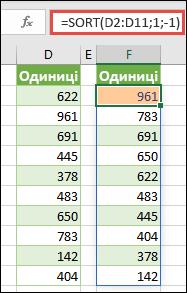 У цьому прикладі показано, як відсортувати діапазон значень за спаданням.