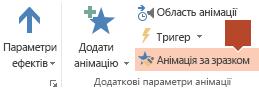 """Функція """"Анімація за зразком"""" доступна на панелі інструментів """"Анімація"""" стрічки, коли на слайді вибрано анімований об'єкт"""