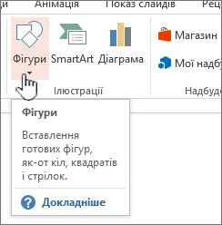Кнопка вставлення фігур у PowerPoint
