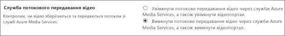 Вимкнення настройок Office365Video в центрі адміністрування SharePointOnline