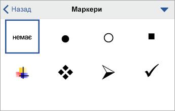 "Команда ""Маркери"" із параметрами форматування"