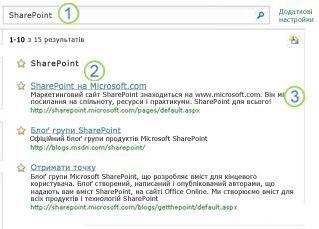 У верхній частині сторінки результатів пошуку відображено три відповідники для сервера SharePoint Server