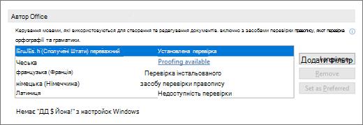 Мови та засоби перевірки Office