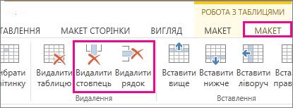 """Зображення команд """"Видалити таблицю"""" й """"Видалити рядок"""" на стрічці """"Робота з таблицями > Макет"""""""