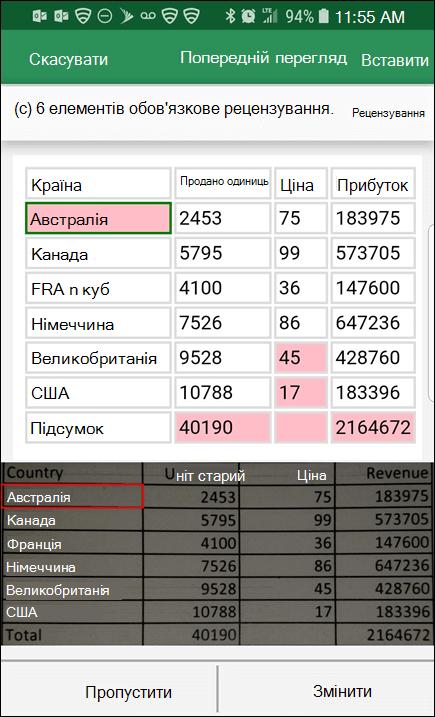 Імпорт даних Excel із зображення дає можливість будь-які проблеми, виявлені під час перетворення даних.