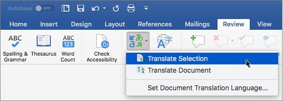 Вкладка Review (Рецензування) з виділеним параметром Translate Selection (Перекласти виділений фрагмент)