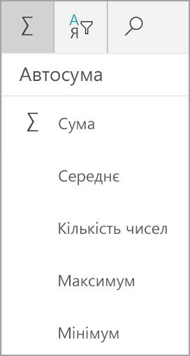 Програма Microsoft Tablet Excel SUM