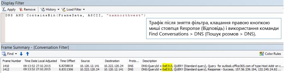 Трасування, відфільтроване за допомогою команди Find Conversations (Знайти розмови), а потім– за DNS.