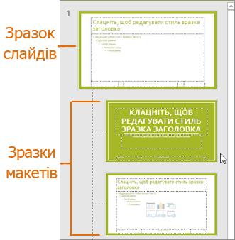 Зразок слайда з макетами в поданні зразка слайдів PowerPoint
