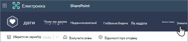"""Параметр """"змінити"""" у верхній частині сучасної сторінки SharePoint під час роботи над сайтом"""