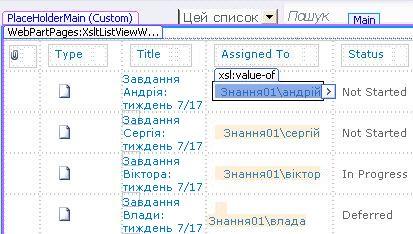 Подання списку у програмі SharePoint Designer
