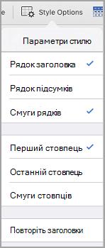 iPad параметри стилю таблиці