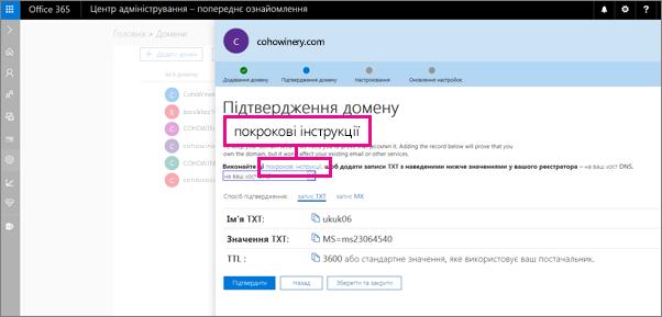 """На сторінці """"Підтвердити"""" дотримуйтесь інструкції, щоб додати запис TXT на сайті свого постачальника послуг розміщення DNS"""
