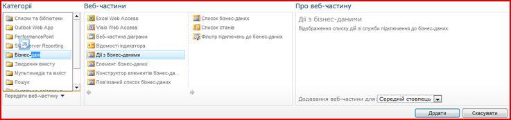 Засіб вибору веб-частини, у якому відображається веб-частина Excel Web Access