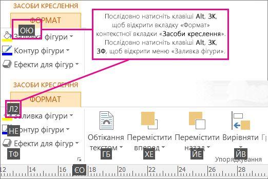 Нові сполучення клавіш із двома буквами, відкриття вкладки ''Засоби креслення''.