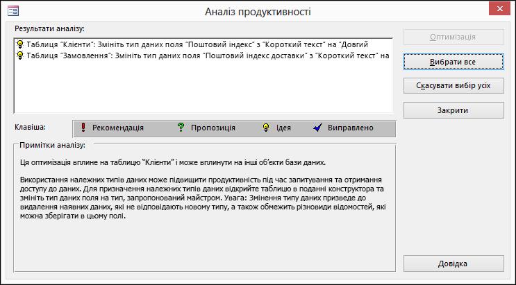 """Результати в діалоговому вікні """"Аналіз продуктивності"""" після виконання на базі даних Access."""
