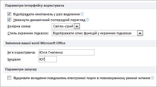 Панель загальні параметри програми Word 2010