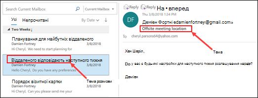 Outlook групує повідомлення, Тема розмови у списку повідомлень.
