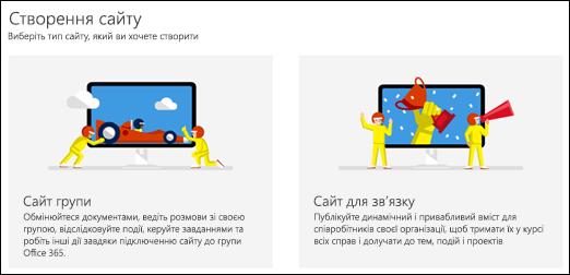 Вибір типу сайту в SharePoint Online