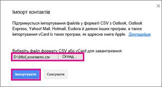 Діалогове вікно імпорту контактів в обліковому записі Google Gmail