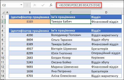Приклад функції XLOOKUP, що використовується для повернення імені працівника та відділу на основі IDt працівника. Формула має такий вигляд: = XLOOKUP (B2, B5: B14; C5: D14; 0; 1)