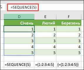 Створення вертикальної константи-масиву за допомогою функції =SEQUENCE(5) або ={1;2;3;4;5}