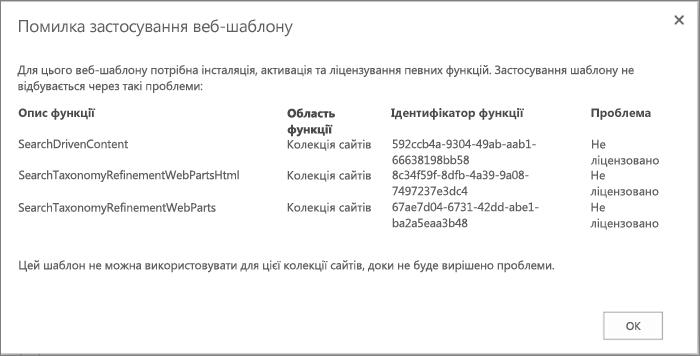 Знімок екрана з повідомленням про помилку, де зображено помилку, яка може відобразитися, якщо не вдасться створити сайт у службі SharePoint Online через недоступні функції