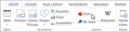 """Знімок екрана: розділ вкладки """"Вставлення"""" на стрічці Word із курсором, що вказує на магазин. Виберіть магазин, щоб перейти до магазину Office і шукати надбудови в програмі Word."""