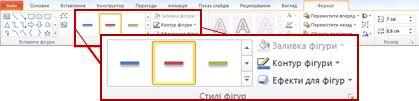 Вкладка ''Формат'' у розділі ''Засоби малювання'' в застосунку PowerPoint 2010.