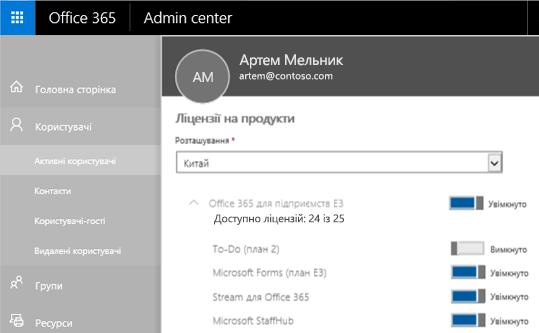 Знімок екрана: сторінка ліцензій на продукти в Центрі адміністрування Office365 із вимкнутим перемикачем для To-Do (план 2).