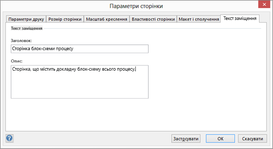 Діалогове вікно тексту заміщення для сторінки у Visio