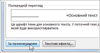 Кнопка ''За промовчанням'' у діалоговому вікні ''Шрифт''