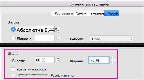 На вкладці Розмір у полі додаткове розташування виділено параметри масштабу.