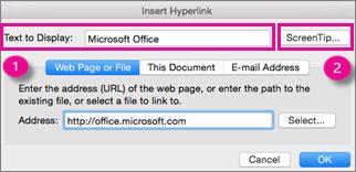 Діалогове вікно для вставлення гіперпосилання в Office для Mac